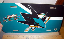 San Jose Sharks NHL hockey team plastic License Plate, made in the USA