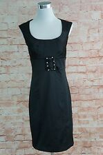 Bisou Bisou BLACK rockabilly Dress Satin Party Belt size 6 Club Evening Date