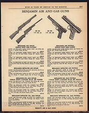 1963 BENJAMIN Air & Gas Guns Pistol Rifle Vintage AD 22 Models listed w/ prices