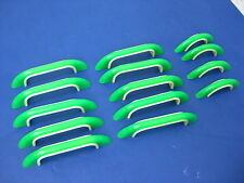 vtg Set 14 two-Tone Green & Cream Celluloid Drawer/ Door Pull Handles 1940s 50s