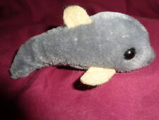 """Dolphin Mini 4"""" R Dakin VTG 1986 Grey Stuffed Plush Soft Velvet Felt Fins"""