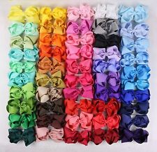 12pc 5inch girl Solid Single Ribbon big Hair Bows Alligator Clip(40 colors)-401C