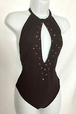 NWT SHAN Bijoux Chocolate Brown Beaded 1 Piece Swimsuit Size 12 Retail $325