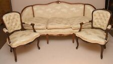 Antique Style Love Seat, Chaise & 2 Arm Chairs in French Style Cream Fabric.