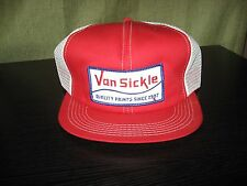 Vintage New / never worn snap back trucker hat Van Sickle paints patch red white
