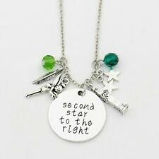 "SECOND STAR TO THE RIGHT CHARM NECKLACE 18"" Peter Pan Disney Inspired Pendant"