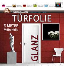 4,98 €/m²) 5 M x 100 cm Türfolie Hochglanz Deko Plotterfolie + weiß + TiP