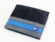 NEW TOMMY HILFIGER BLACK LEATHER PASSCASE CREDIT CARD BILLFOLD ID MEN'S WALLET