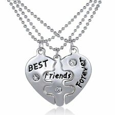 BFF Best Friends Forever 3 Part Love Break Heart Pendent Necklaces Fashion Charm