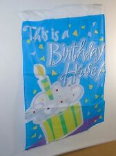 """Birthday House Party Flag ~ 28"""" x 40"""" Nylon Banner For Yard, American Greetings"""