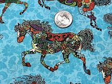 Fabric Horses Painted Ponies on Turquoise Cotton by the 1/4 yard BIN