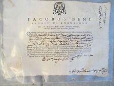 ANTICO DOCUMENTO STATO LIBERO JACOPO BENI VESCOVO DI GUBBIO SIGILLO 1750