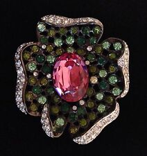 New Kenneth Jay Lane Flower PIN BROOCH, Pink Green