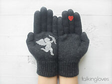 Artist Handmade Woman Kids Gray GLOVES Mittens CUPID & RED HEART Love Amour