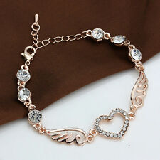 Woman 18k Rose Gold Cubic Zirconia Love Heart Wings Charms Bracelet Chain Gift