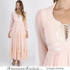 Vintage 70s Gunne Sax Dress Boho Wedding Peach Corset Lace Hippie Party Maxi