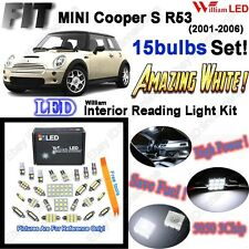 15 Bulbs Super White LED Interior Light Kit For MINI Cooper S R53 2001-2006