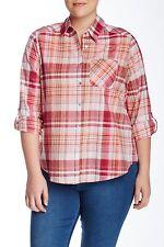 Foxcroft - 22W - NWT - Orange & Pink Plaid Tab Long Sleeve 100% Cotton Shirt