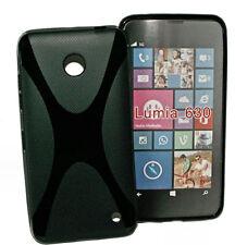 X-Rubber Silikon TPU Cover Case Schwarz für Nokia Lumia 630 + Displayschutzfolie