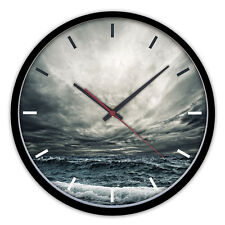 Contemporary Wood Quartz Wall Clock With Black Wooden Frame Stormy Sea 2125