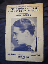 Partition Petit homme c'est l'heur de fair' dodo Music Sheet Guy Berry 1934