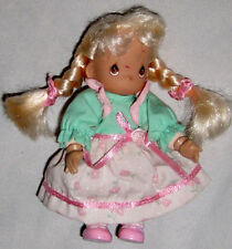 "Blond Pig Tail 5"" Precious Moments Doll Wearing Green & Pink"
