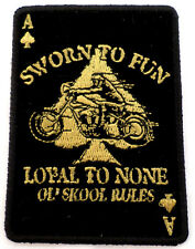 Ace Of Spades Sworn To Fun Loyal To None Motorcycle Uniform Patch Biker #25739