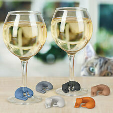 CAT SHAPED Silicone WINE MARKERS Set of 6 - Wine Lives - Cat Lover ��Wine Lover
