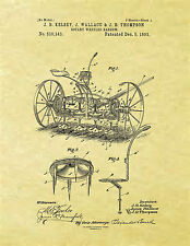 Display Art Print US PATENT for ROTARY WHEELED HARROW Farm Equipment Kelsey 1893