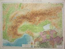 1940 MAP ~ THE ALPS SWITZERLAND ~ LAND HEIGHTS LUZERN BERN ZURICH FRIBOURG