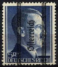 Austria 1945 SG#852, 5RM #D37626 azul ultramar Adolf Hitler P12.5 Estampillada sin montar