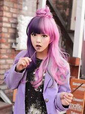 AAA Free ship Long Pink Mixed Purple Multi Color  Harajuku Straight Cosplay Wig