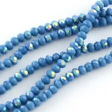 100 pcs RONDELLE FACETED GLASS CRYSTAL BEADS 6 mm Cornflower Blue AB