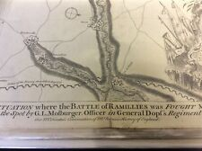 Antiguo mapa de la batalla de Ramillies 1706. publicado yo por BASIRE 1740's