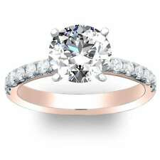 1.4 Ct. Natural Round Cut Pave Diamond Engagement Ring - GIA CERTIFIED 14k