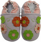 carozoo 3 flower leaf light purple 0-6m soft sole leather baby shoes