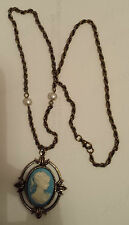 THE VAMPIRE DIARIES *KATHERINE'S ANTIQUE INSPIRED VINTAGE BLUE CAMEO NECKLACE*