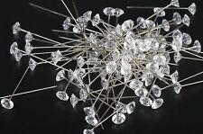 """2"""" Clear Diamond Diamante Corsage and Bouquet Pins Pack of 30 Count"""