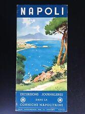 Rare ancien dépliant Brochure Excursions journalières Corniche napolitaine TBE