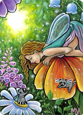 Raccoon Angels Flowers Sunlight  Magic Thumbelina Fairy ACEO Print From Original