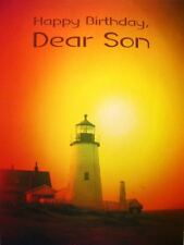 Birthday Braille Added Greeting Card For the Blind Son Lighthouse Sunset BF046