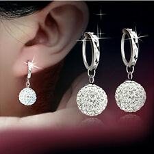 Silver Full Crystal Disco Ball Sphere Dangle Drop Earring Wedding Bridal Jewelry