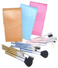 NEW makeup cosmetic brush travel set Blue/Pink/Brown with case and mirror