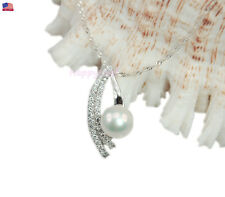@WOW@11mm Freshwater Pearl Premium 925 Sterling Silver Top CZ Pendant Necklace