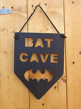 Hand Crafted Cut Out Wooden Bat Cave Sign Black