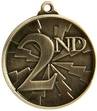 2nd Place Medal Gold 3d Effect 50mm Diameter Includes Ribbon and Engraving
