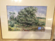 """Large Webster Smith """"Landscape With Trees"""" Watercolor Painting - Signed/Framed"""