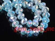 Bulk 100Pc Aque Blue AB Crystal Glass Faceted Exquisite Bead 6mm Spacer Pretty