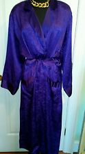 BN Victoria Secret Full Length Ladies Robe Royal Purple Damask, Size Large fits