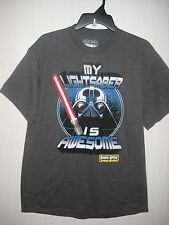 Mens L Large Angry Birds Star Wars Gray My Lightsaber Is Awesome T Shirt  NWT
